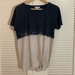 NWT socialite dip dyed two tone distressed T-shirt